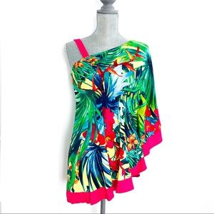 {CACHE}Silk Tropical Print One Shoulder Top/Blouse